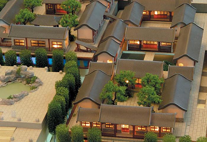 度假景区四合院式沙盘模型制作案例