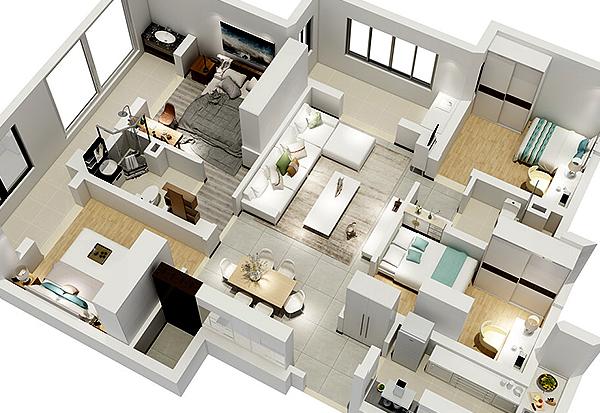 楼盘户型模型沙盘设计室内大面积效果展示
