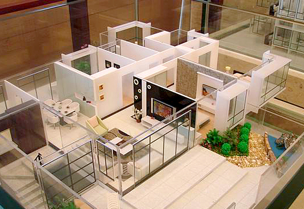 新建别墅区户型沙盘模型制作效果带小院