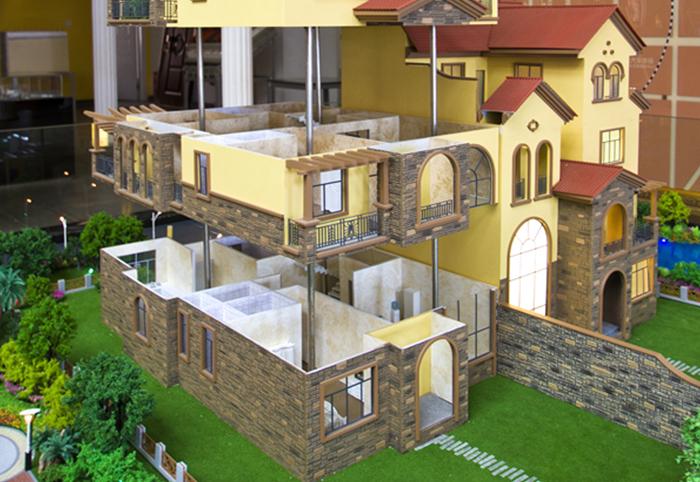 郑州分层式别墅沙盘模型案例分享包含别墅楼盘户型布局