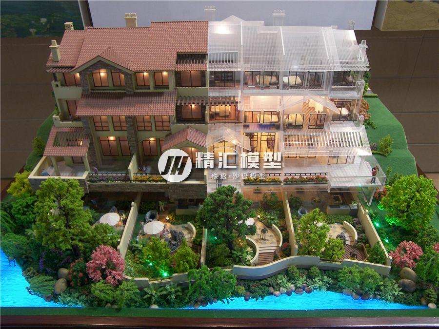 多功能别墅沙盘模型,带有透视园林绿化户型沙盘设计