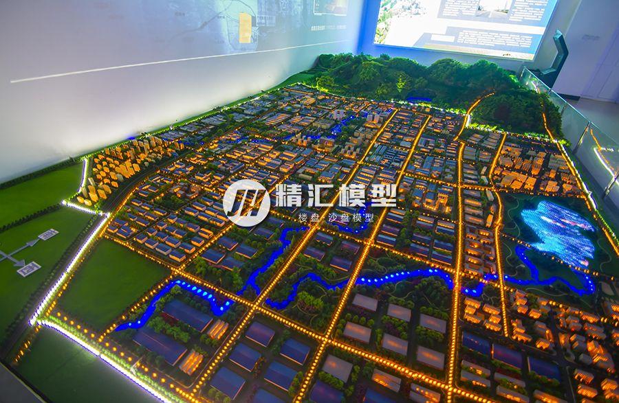 大型商住综合体楼盘沙盘模型,带有水系公园设计