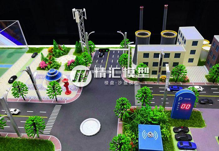 工业区沙盘模型效果,交通指示演示效果整体呈现